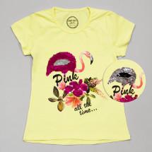 """Футболка желтого цвета для девочек с пайетками-перевертышами """"Фламинго"""""""