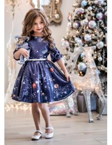 Платье нарядное синего цвета Лунара