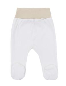 Ползунки молочного цвета для малышей с бежевым пояском