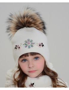 """Комплект белого цвета (шапка и шарф) """"Небо в алмазах"""""""