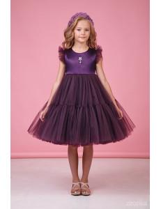 """Платье нарядное фиолетовое для девочек с многослойной юбкой """"Одуванчик"""""""